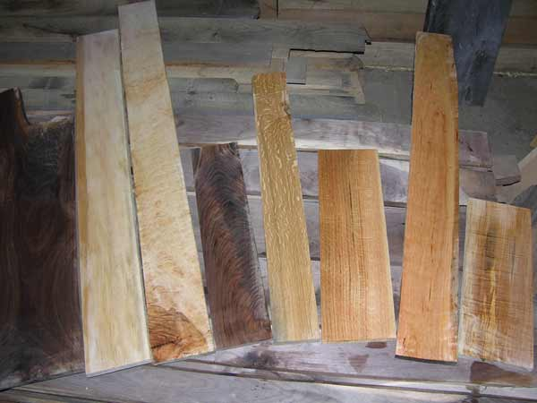Sampling of lumber. Walnut, figured maple, Coffee tree